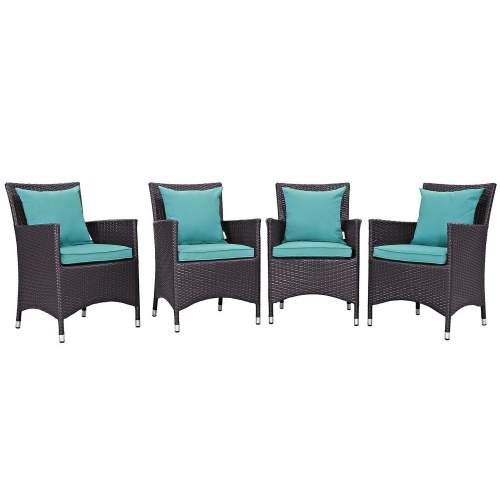 Modway Convene 4 Piece Outdoor Patio Dining Set - Espresso Turquoise