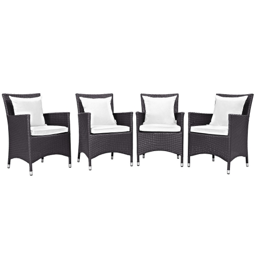 Convene 4 Piece Outdoor Patio Dining Set - Espresso White