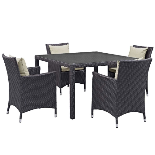 Convene 5 Piece Outdoor Patio Dining Set - Espresso Biege