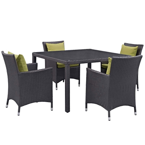 Convene 5 Piece Outdoor Patio Dining Set - Espresso Peridot