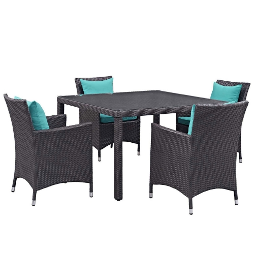 Convene 5 Piece Outdoor Patio Dining Set - Espresso Turquoise