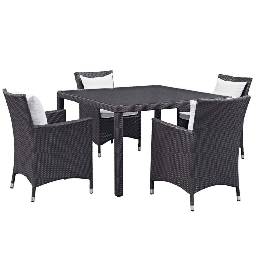 Convene 5 Piece Outdoor Patio Dining Set - Espresso White