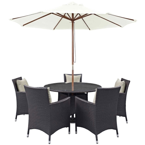 Convene 7 Piece Outdoor Patio Dining Set - Espresso Beige