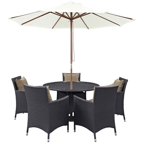 Convene 7 Piece Outdoor Patio Dining Set - Espresso Mocha
