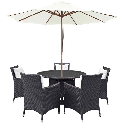 Convene 7 Piece Outdoor Patio Dining Set - Espresso White
