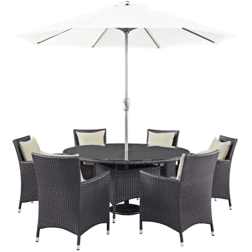 Convene 8 Piece Outdoor Patio Dining Set - Espresso Beige