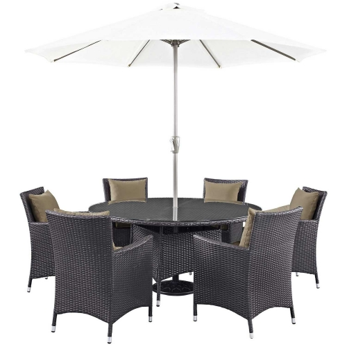 Convene 8 Piece Outdoor Patio Dining Set - Espresso Mocha