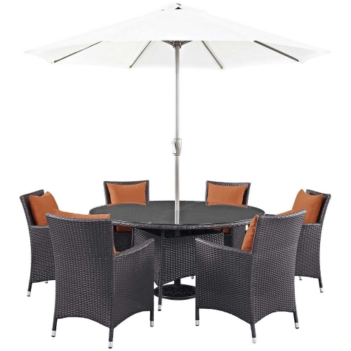 Convene 8 Piece Outdoor Patio Dining Set - Espresso Orange