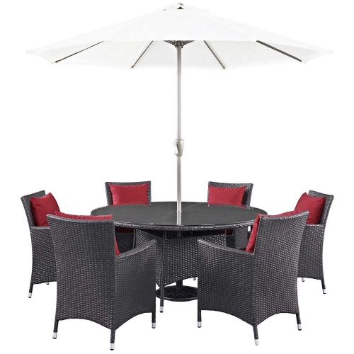 Convene 8 Piece Outdoor Patio Dining Set - Espresso Red