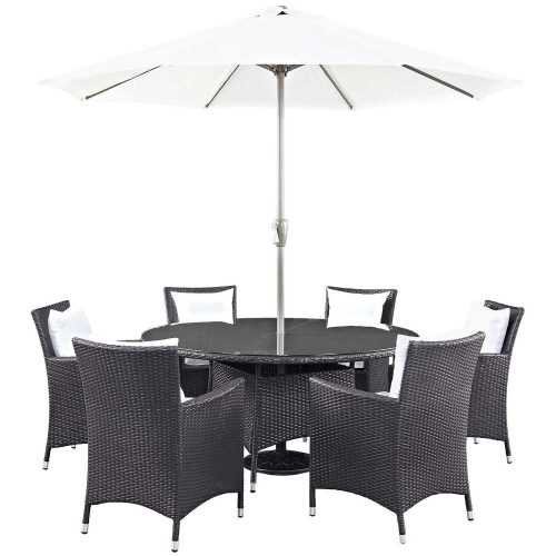 Convene 8 Piece Outdoor Patio Dining Set - Espresso White