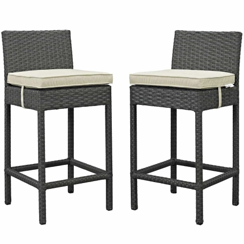 Sojourn 2 Piece Outdoor Patio Sunbrella Pub Set - Antique Canvas Beige