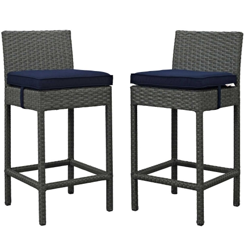 Sojourn 2 Piece Outdoor Patio Sunbrella Pub Set - Canvas Navy