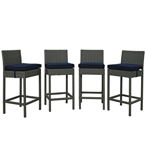 Sojourn 4 Piece Outdoor Patio Sunbrella Pub Set - Canvas Navy