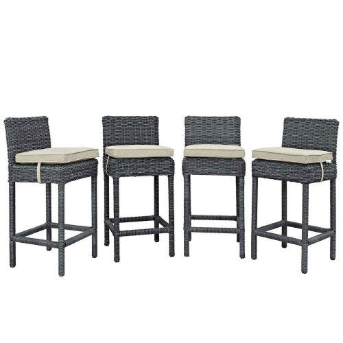 Summon Bar Stool Outdoor Patio Sunbrella Set of 4 - Antique Canvas Beige