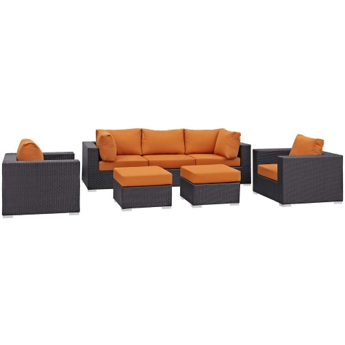 Modway Convene 7 Piece Outdoor Patio Sectional Set - Espresso Orange