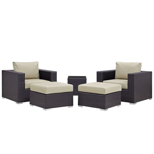 Convene 5 Piece Outdoor Patio Sectional Set - Espresso Beige