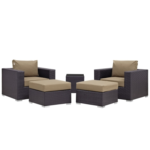 Convene 5 Piece Outdoor Patio Sectional Set - Espresso Mocha