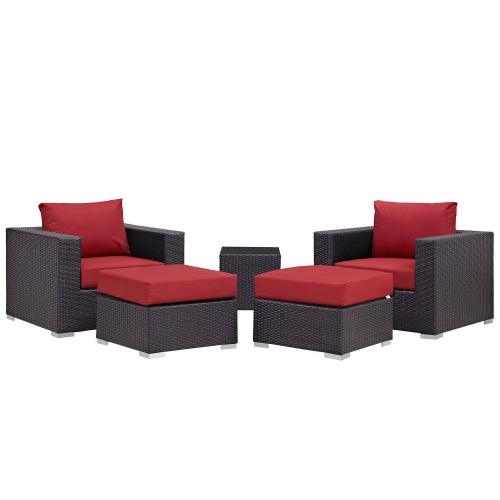 Convene 5 Piece Outdoor Patio Sectional Set - Espresso Red