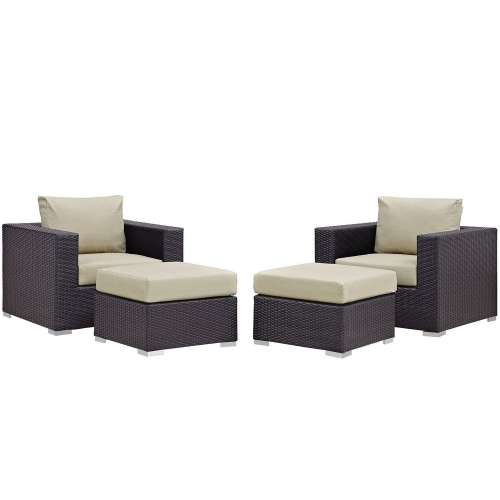 Convene 4 Piece Outdoor Patio Sectional Set - Espresso Beige