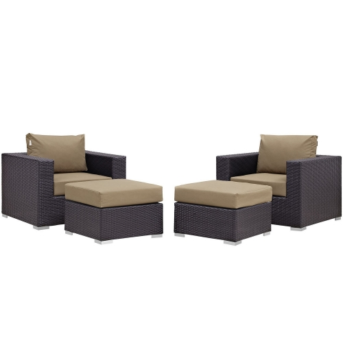 Convene 4 Piece Outdoor Patio Sectional Set - Espresso Mocha
