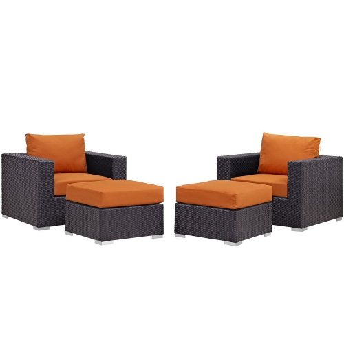 Convene 4 Piece Outdoor Patio Sectional Set - Espresso Orange