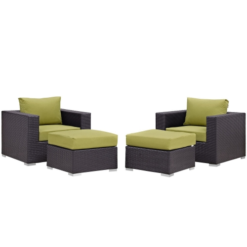 Convene 4 Piece Outdoor Patio Sectional Set - Espresso Peridot