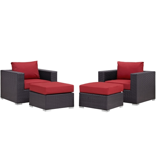Convene 4 Piece Outdoor Patio Sectional Set - Espresso Red