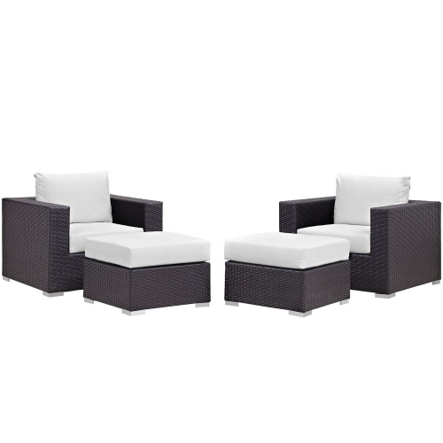 Convene 4 Piece Outdoor Patio Sectional Set - Espresso White
