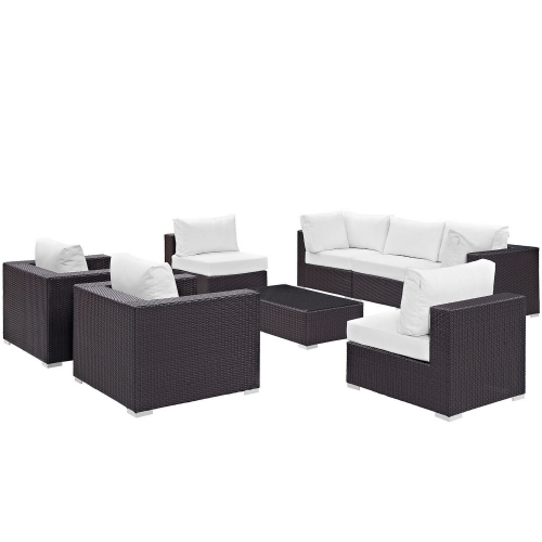 Convene 8 Piece Outdoor Patio Sectional Set - Espresso White