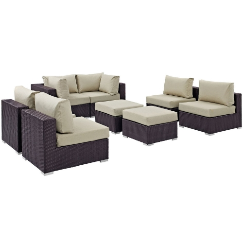 Convene 8 Piece Outdoor Patio Sectional Set - Espresso Beige