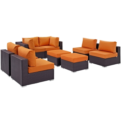 Convene 8 Piece Outdoor Patio Sectional Set - Espresso Orange