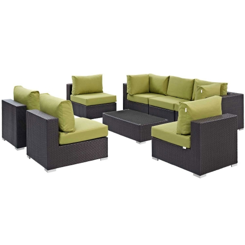Convene 8 Piece Outdoor Patio Sectional Set - Espresso Peridot