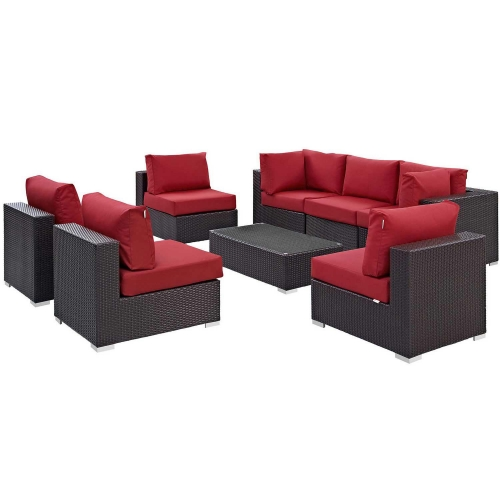 Convene 8 Piece Outdoor Patio Sectional Set - Espresso Red