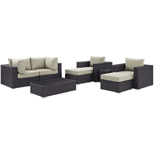 Modway Convene 8 Piece Outdoor Patio Sectional Set - Espresso Beige