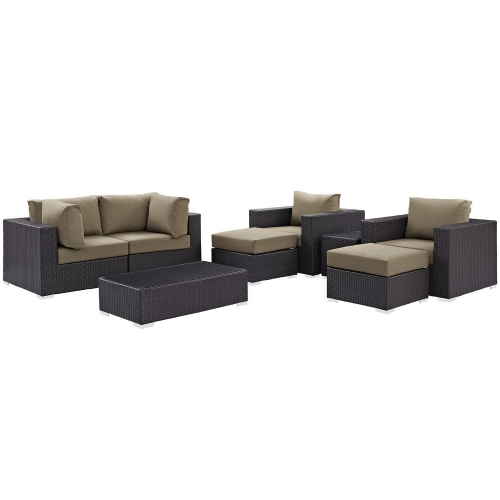 Convene 8 Piece Outdoor Patio Sectional Set - Espresso Mocha