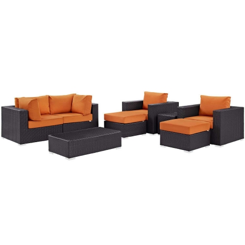 Modway Convene 8 Piece Outdoor Patio Sectional Set - Espresso Orange