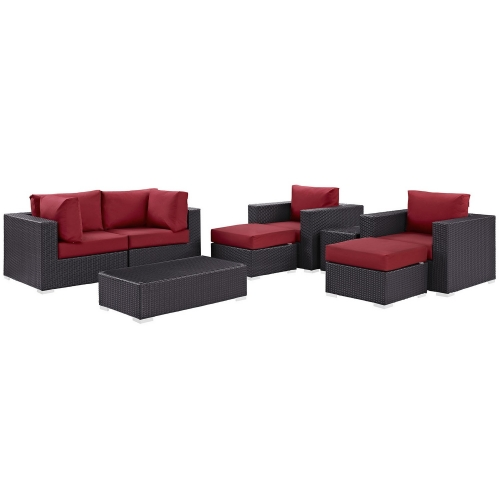 Modway Convene 8 Piece Outdoor Patio Sectional Set - Espresso Red