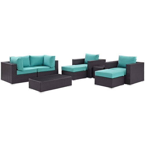 Convene 8 Piece Outdoor Patio Sectional Set - Espresso Turquoise