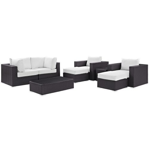 Modway Convene 8 Piece Outdoor Patio Sectional Set - Espresso White