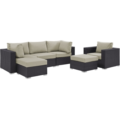 Convene 6 Piece Outdoor Patio Sectional Set - Espresso Beige