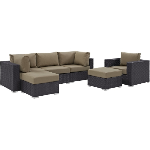 Convene 6 Piece Outdoor Patio Sectional Set - Espresso Mocha