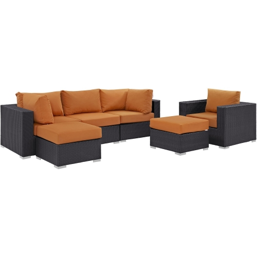 Convene 6 Piece Outdoor Patio Sectional Set - Espresso Orange