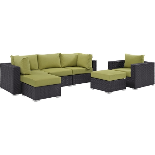 Convene 6 Piece Outdoor Patio Sectional Set - Espresso Peridot
