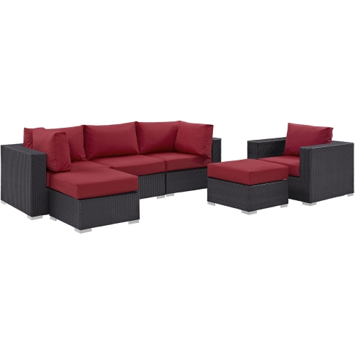 Convene 6 Piece Outdoor Patio Sectional Set - Espresso Red