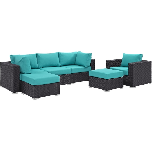 Convene 6 Piece Outdoor Patio Sectional Set - Espresso Turquoise