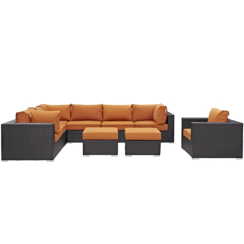 Convene 9 Piece Outdoor Patio Sectional Set - Espresso Orange