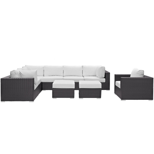 Convene 9 Piece Outdoor Patio Sectional Set - Espresso White