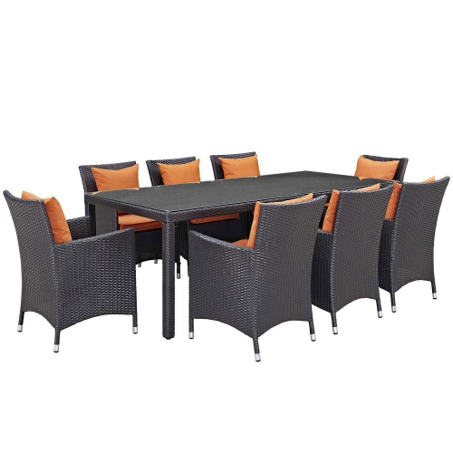 Convene 9 Piece Outdoor Patio Dining Set - Espresso Orange
