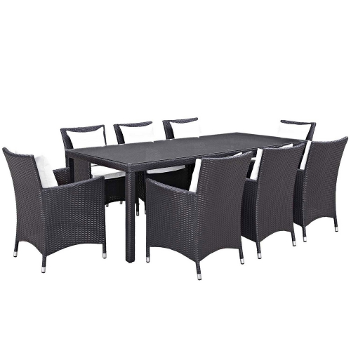 Convene 9 Piece Outdoor Patio Dining Set - Espresso White