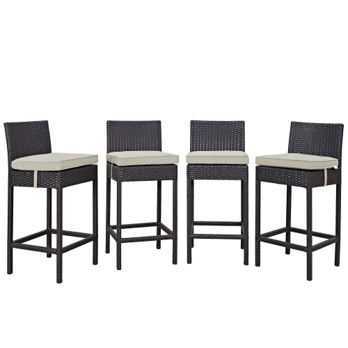 Convene 4 Piece Outdoor Patio Pub Set - Espresso Beige